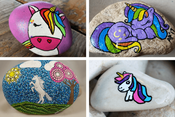Unicorn Painted Rock Step