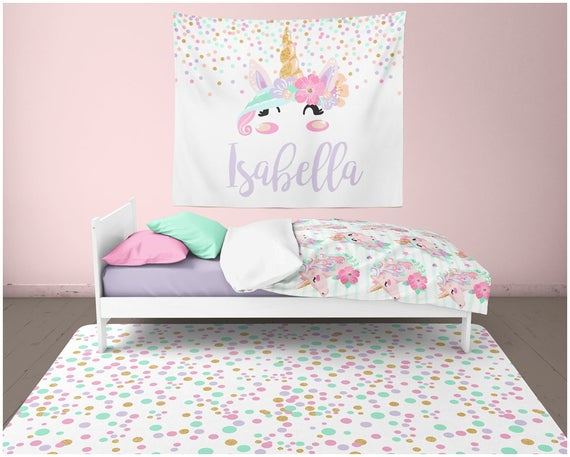 Unicorn Room Decor Girl Nursery Rug Wall Decor Unicorn Wall
