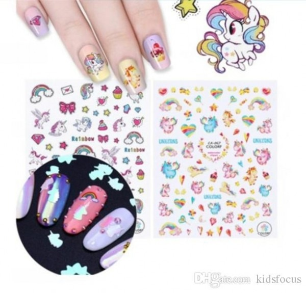 Unicorn Series Nail Decoration Kit Adhesive 3d Nail Sticker