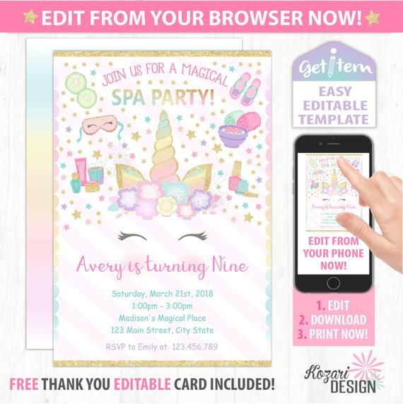Unicorn Spa Birthday Invitation , Spa Birthday Invitation, Unicorn