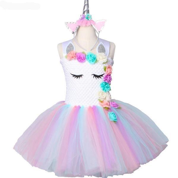 Unicorn Tutu Dress Pastel Rainbow Princess Girls
