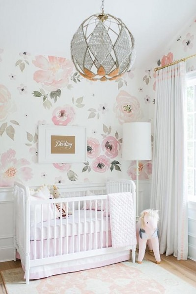 White And Pink Nursery With Vaulted Ceiling And Pink Unicorn