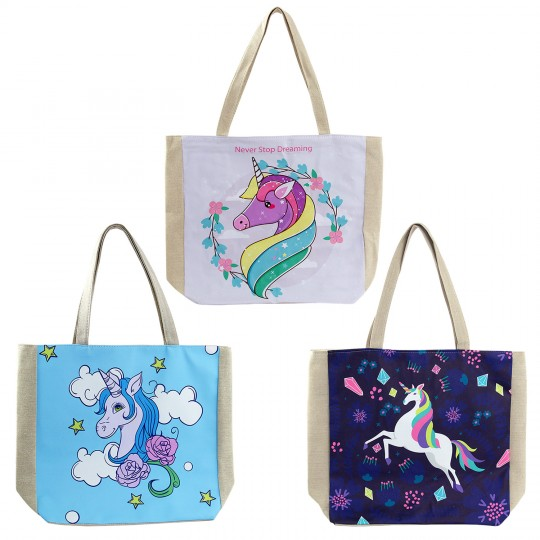 Wholesale Unicorn Beach Tote Bag In 3 Assorted Colors