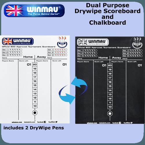 Winmau Dual Purpose Dry Wipe And Chalkboard  Darts Corner