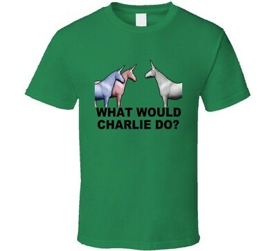 Wwcd What Would Charlie Do Unicorn Green T Shirt