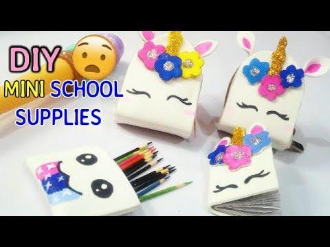 🦄diy  Miniature Unicorn School Supplies ( Backpack, Notebook, Pen