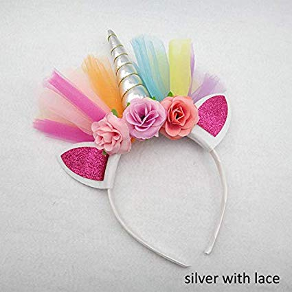 1pcs Headband Sweet Flower Headwear Hair Band Crown Unicorn Horn