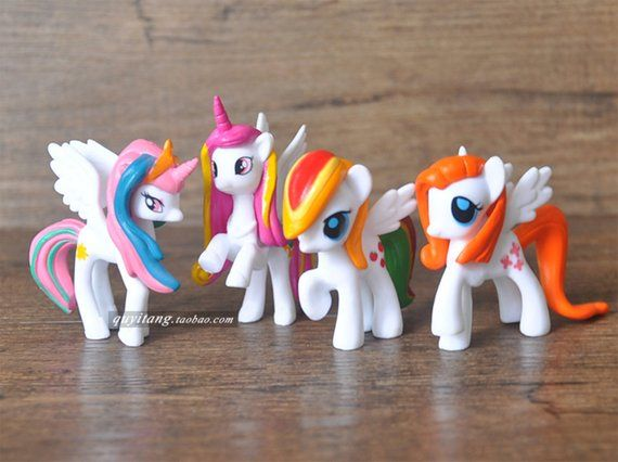 4 Miniature Unicorn Figurine Set, Little Pony Fantasy White Horse