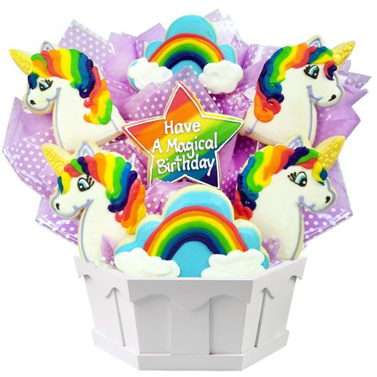 A Cookie Bouquet Filled With The Magic Of Unicorns And Rainbows