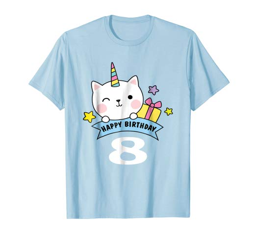 Amazon Com  8 Year Old Birthday Shirt Rainbow Cat Unicorn Caticorn