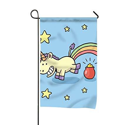 Amazon Com   Dick Sidney Cartoon Unicorn Family Crest Garden Flag