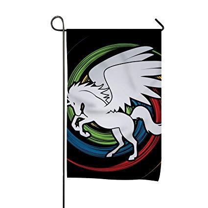 Amazon Com   Hhnyl Colors Circle Unicorn Family Crest Garden Flag
