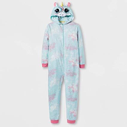 Amazon Com   Hooded Fleece Pajamas Unicorn Girls L 10