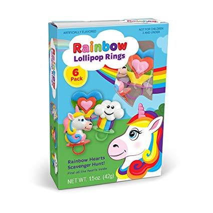 Amazon Com   Rainbow Unicorn Shaped Ring Pop Lollipops, 3 Oz