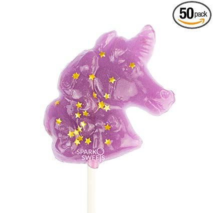 Amazon Com   Sparkly Gold Star Purple Unicorn Shape Lollipops