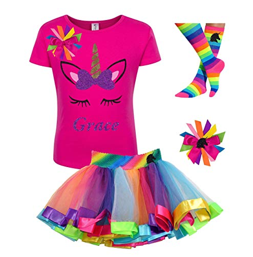 Amazon Com  Custom Unicorn Shirt Rainbow Tutu Outfit Girls