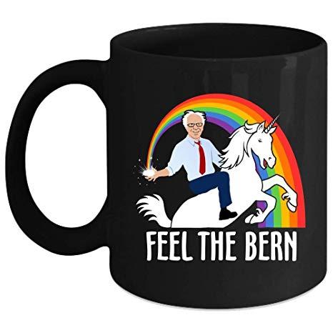 Amazon Com  Feel The Bern Cup, Bernie Sanders Riding Unicorn Funny