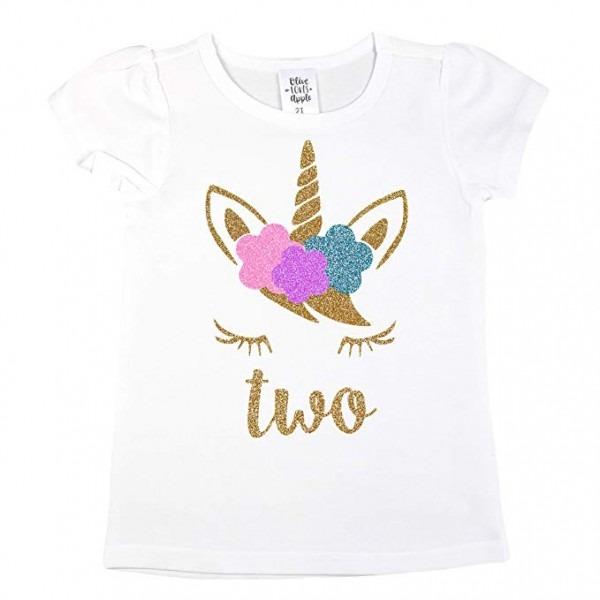 Amazon Com  Girls 2nd Birthday Shirt Unicorn Face Two Shirt Short