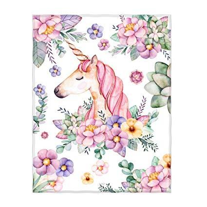 Amazon Com  Kksme 58 X 80 Inch Unicorn Cute Floral Pattern Super