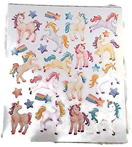 Amazon Com  Pastel Glitter Unicorn Stickers Scrapbook