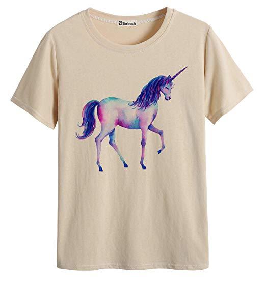 Amazon Com  So'each Women's Painting Unicorn Graphic Tee T