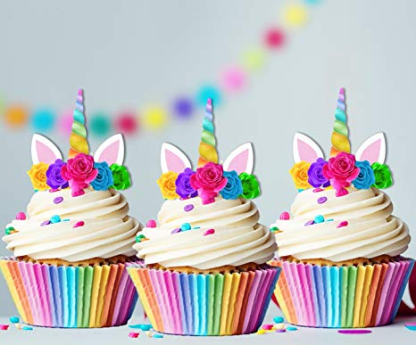 Amazon Com  Unicorn Rainbow Horn Edible Cupcake Cake Toppers X15