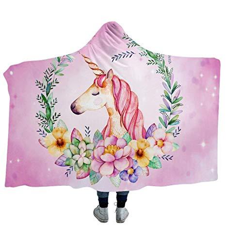 Amazon Com  Willing Life Unicorn Hooded Throw Blanket Double