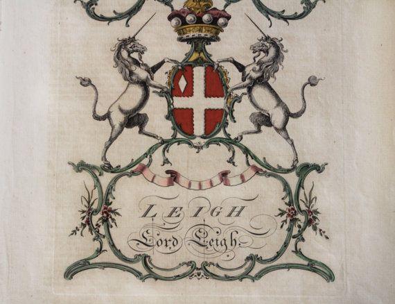 Antique Print 1700's Heraldic Family Crest W Unicorns Copper