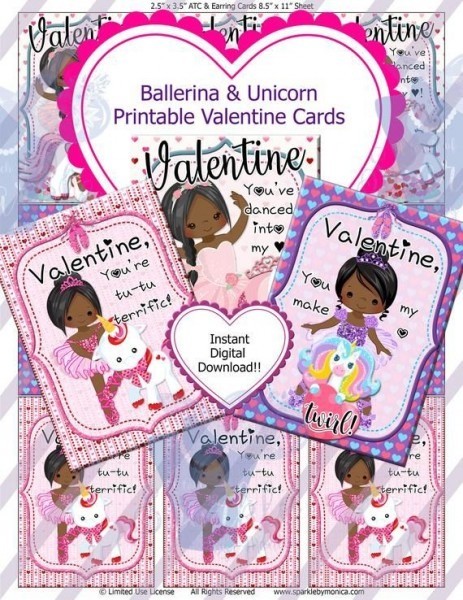 Black Ballerina Unicorn Valentine Cards, Digital Atc, Digital