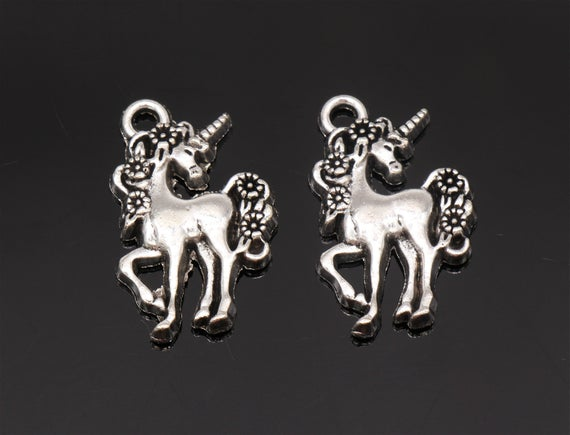 Bulk 25 Unicorn Charms Antique Silver Tone 23x15mm Yd3339