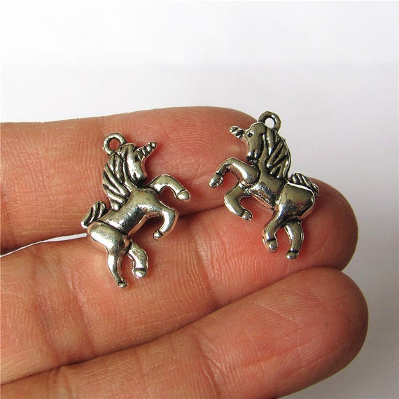 Bulk 30 Unicorn Charm Pendant Antique Silver Drop Handmade