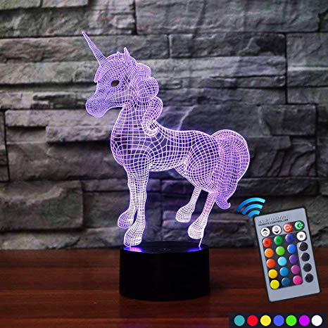 Carryfly Unicorn Night Light Bedside Lamp 7 Colors Change + Remote