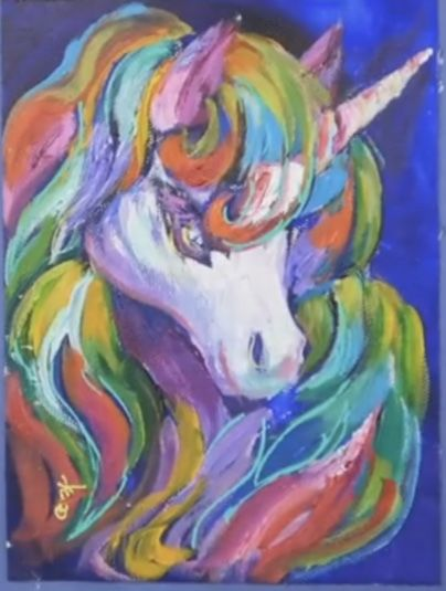 Colorful Unicorn Acrylic Painting Tutorial By Ginger Cook In 2019