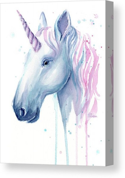 Cotton Candy Unicorn Canvas Print   Canvas Art By Olga Shvartsur