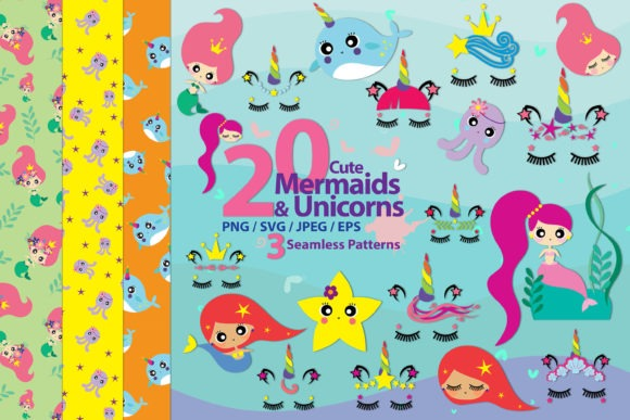Cute Mermaids & Unicorns (graphic) By 3motional · Creative Fabrica