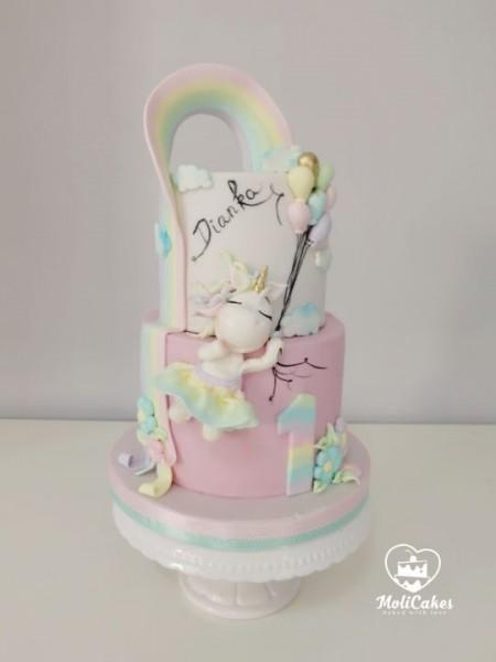 Cute Pastel Colors Unicorn And Rainbow Birthday Cake