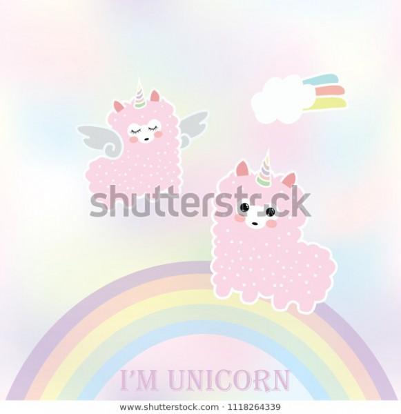 Cute Pink Llama Alpaca Unicorn Seamless Stock Vector (royalty Free