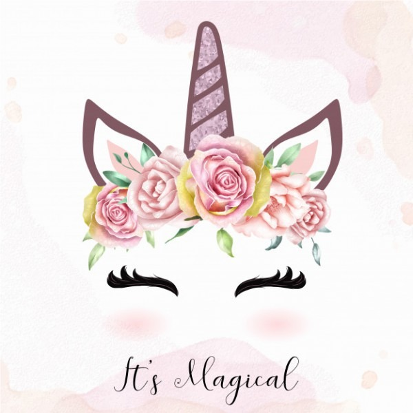 Cute Unicorn Head With Watercolor Floral Crown Vector