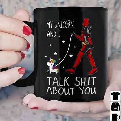 Deadpool Unicorn Walking Talk Sh T About You Mug Black Ceramic