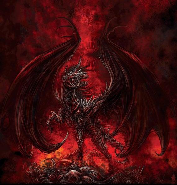 Demon Hell Unicorn Shower Curtain Fantasy Decor