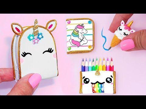 Diy  Miniature Unicorn School Supplies ( Backpack, Notebook, Pen
