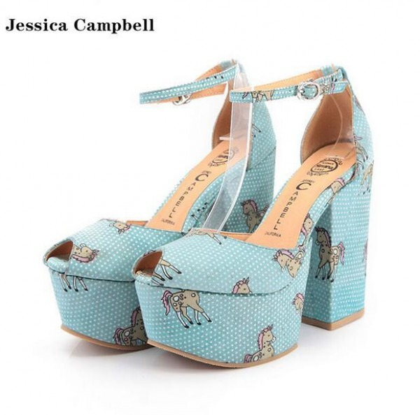Fashion As Jeffrey Campbell Unicorn Chunky Platform Heel Sandals