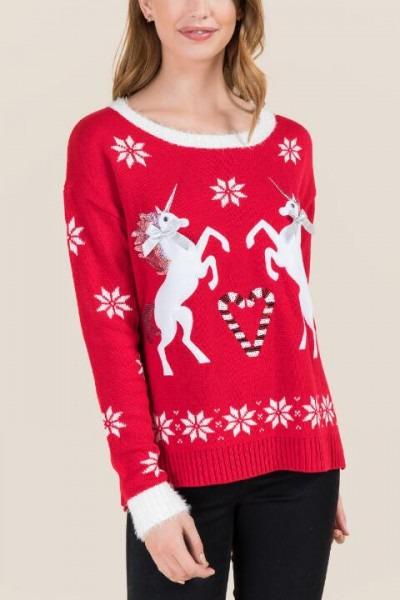 Fuzzy Unicorn Candy Cane Sweater