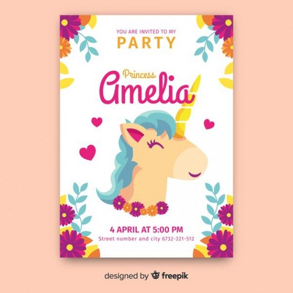 Hand Drawn Unicorn Castle Princess Party Invitation Template