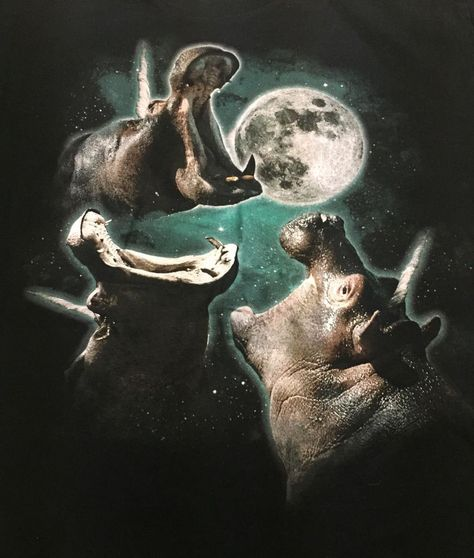 Hippo Unicorns Howling At Moon Large Short Sleeve Tee T