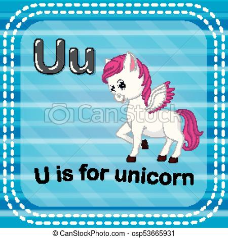 Illustration Of Flashcard Letter U Is For Unicorn