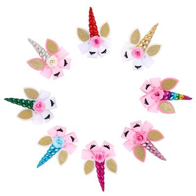 Jojo Unicorn Hair Bows Clips For Girls Fake Flower Sequins Glitter