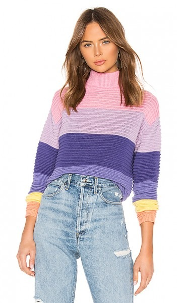 Lovers + Friends Unicorn Crop Sweater In Bubblegum Stripe