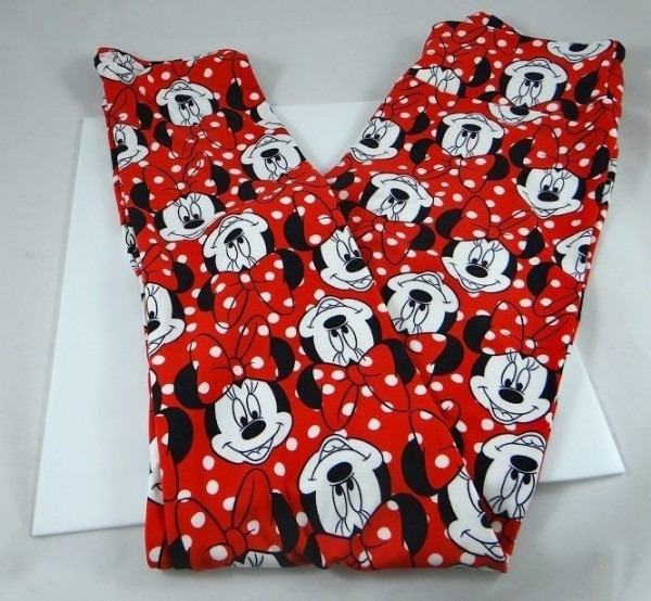 Lularoe Disney Collection Leggings Os Unicorn Minnie Mouse Red In