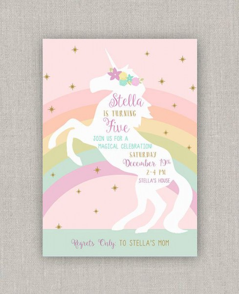 Magical Unicorn Birthday Invitation In 2019